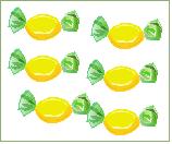 sechs Bonbons